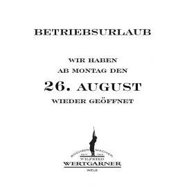 Betriebsurlaub bis Montag den 26. August