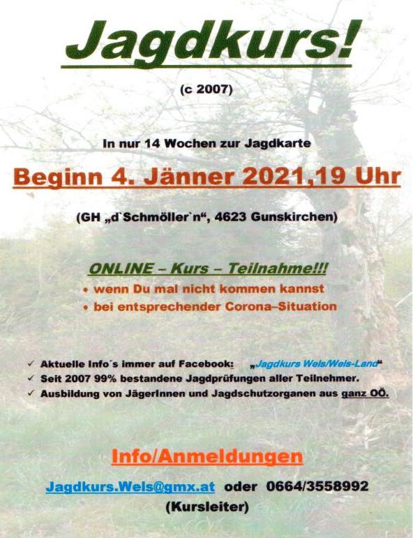 Details zum Jagdkurs Wels-Land 2021
